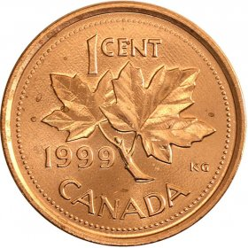 1999 Canadian 1-Cent Maple Leaf Twig Penny Coin (Brilliant Uncirculated)
