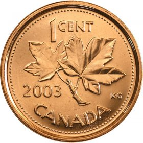 2003P Canadian 1-Cent Maple Leaf, New Effigy (Brilliant Uncirculated)