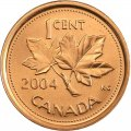 2004-P Canadian 1-Cent Maple Leaf Twig Penny Original Coin Roll