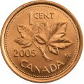 2005 Canadian 1-Cent Maple Leaf Twig Penny Original Coin Roll