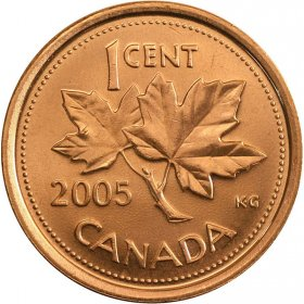2005 Canadian 1-Cent Maple Leaf (Brilliant Uncirculated)