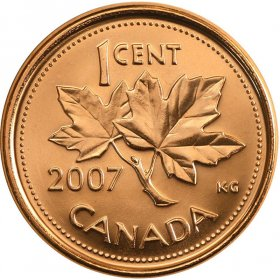 2007 Canadian 1-Cent Maple Leaf Twig Penny Coin (Brilliant Uncirculated)