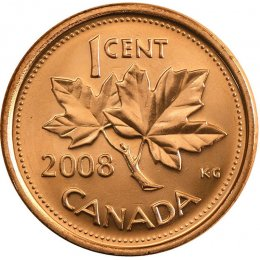 2008 Canadian 1-Cent Maple Leaf Twig Penny Coin (Brilliant Uncirculated)
