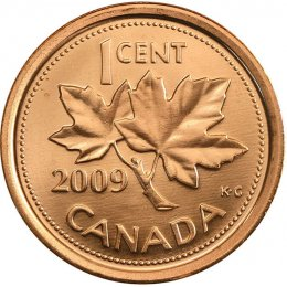 2009 Canadian 1-Cent Maple Leaf Twig Penny Coin (Brilliant Uncirculated)