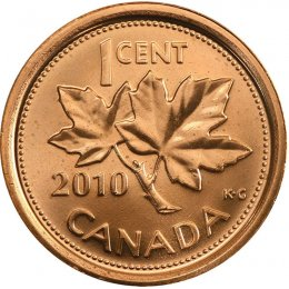 2010 Canadian 1-Cent Maple Leaf Twig Penny Coin (Brilliant Uncirculated)