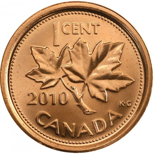 2010 NON-MAGNETIC Canadian 1-Cent Maple Leaf Twig Penny (Brilliant Uncirculated)