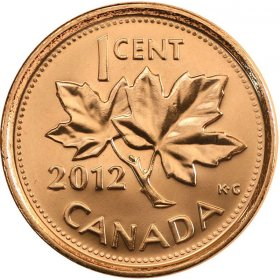 2012 Canadian 1-Cent Maple Leaf Twig Penny Coin (Brilliant Uncirculated)