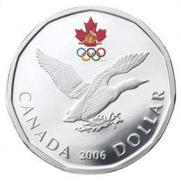 2006 Canadian $1 Olympic Lucky Loonie Proof Sterling Silver Dollar Coin