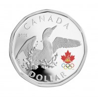 2008 Sterling Silver Dollar Coin - Lucky Loonie: Olympic Loon Dance