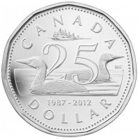 2012 Fine Silver Dollar Coin - 25th Anniversary of the Loonie
