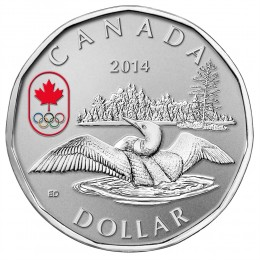 2014 Canadian $1 Olympic Lucky Loonie Proof Silver Dollar Coin