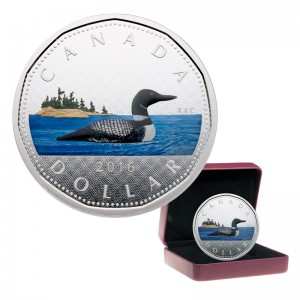2016 Canada Fine Silver 5 oz Coin - Big Coin Series: $1 Dollar Loon (Coloured)
