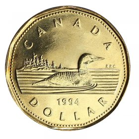 1994 Canadian $1 Common Loon Dollar Coin (Brilliant Uncirculated)