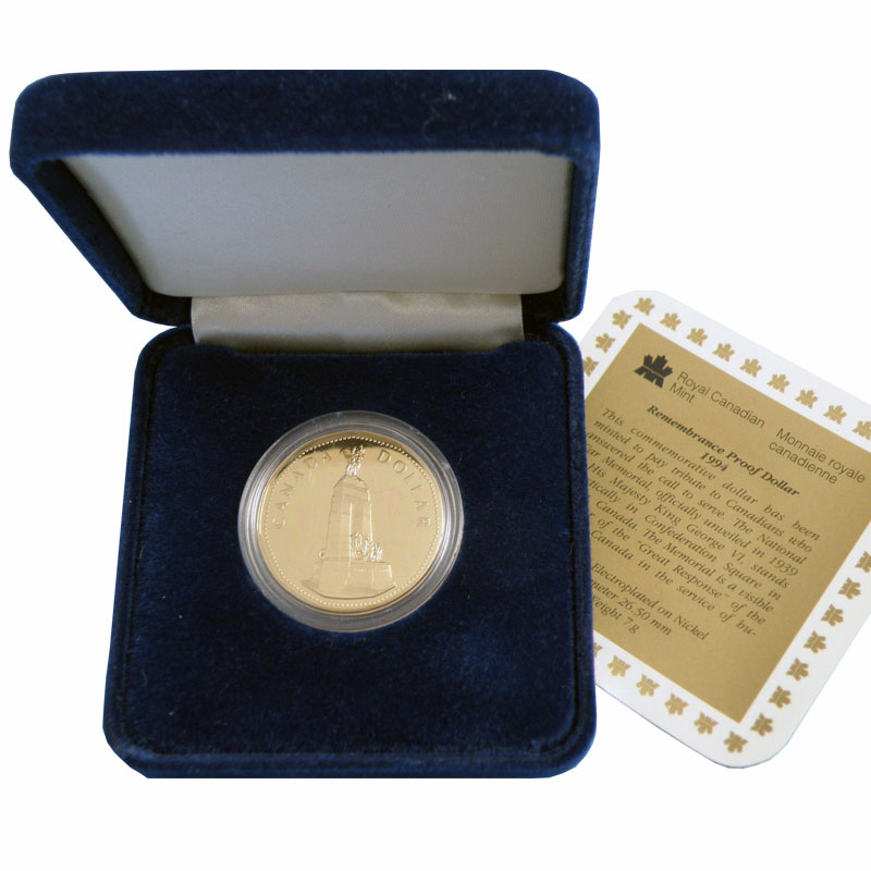 National War Memorial 1994 Rememberance Dollar Canadian Proof Coin