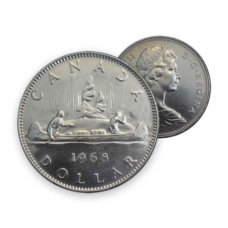1968 Canada Nickel $1 Dollar - Voyageur (Circulated)