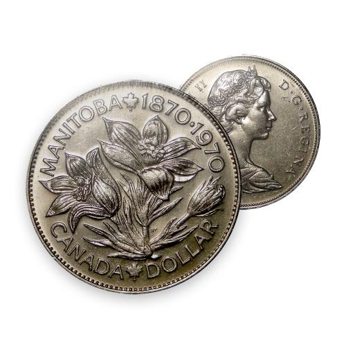 1970 (1870-) Canadian $1 Manitoba Centennial Dollar Coin (Circulated)