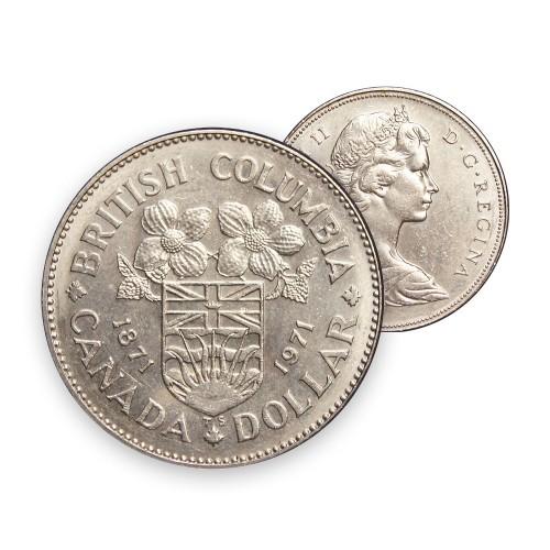1971 (1871-) Canadian $1 British Columbia Centennial Dollar Coin (Circulated)