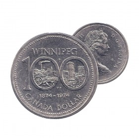 1974 Canada Nickel $1 Dollar - Winnipeg Centennial (Circulated)