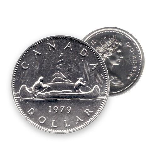 1979 Canadian $1 Voyageur Dollar Coin (Circulated)