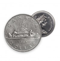 1980 Canada Nickel $1 Dollar - Voyageur (Circulated)