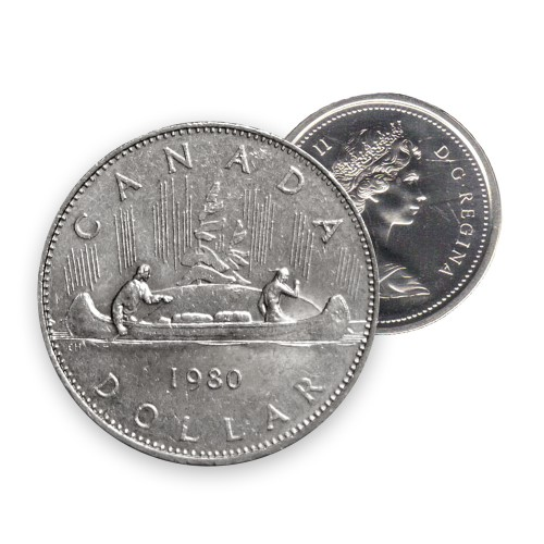 1980 Canadian $1 Voyageur Dollar Coin (Circulated)