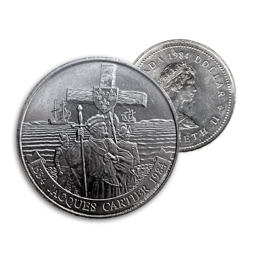 1984 (1534-) Canadian $1 Jacques Cartier 450th Anniv Dollar Coin (Circulated)
