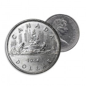 1984 Canadian $1 Voyageur Dollar Coin (Circulated)