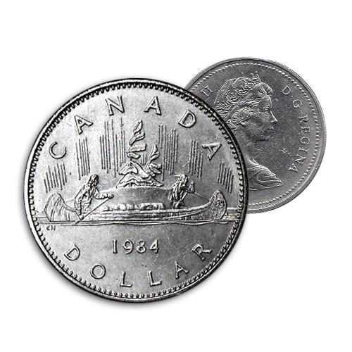 1984 Canadian $1 Voyageur Dollar Coin (Circulated)