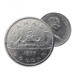1986 Canada Nickel $1 Dollar - Voyageur (Circulated)