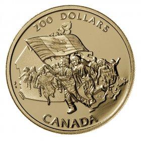 1990 Canada Gold 200 Dollar Coin - Canada's Flag Silver Jubilee