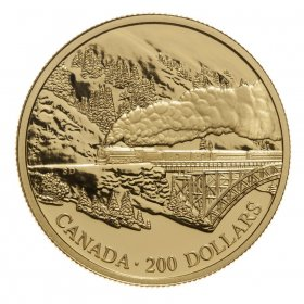 1996 Gold 200 Dollar Coin - Transcontinental Landscape