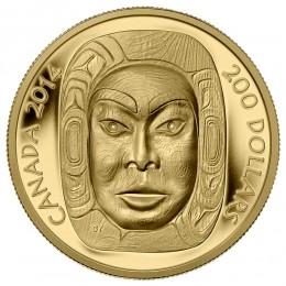 2014 Canadian $200 Matriarch Moon Mask - Pure Gold Coin (Ultra-High Relief)