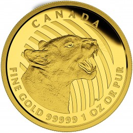 2015 Canadian $200 Growling Cougar - 1 oz Pure Gold Coin