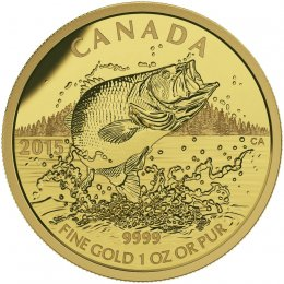 2015 Canadian $200 Largemouth Bass - 1 oz Pure Gold Coin