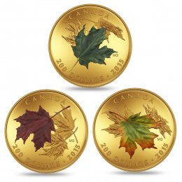 2015 Canadian $200 Alluring Maple Leaves of Fall - 1 oz Pure Gold 3-Coin Set