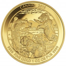 2015 Canadian $200 Grizzly Bear: The Clan - 1 oz Pure Gold Coin