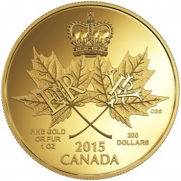 2015 Canadian $200 A Historic Reign - 1 oz Pure Gold Coin