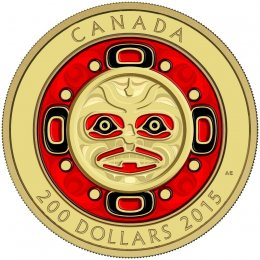 2015 Canadian $200 Singing Moon Mask - Pure Gold Enameled Coin