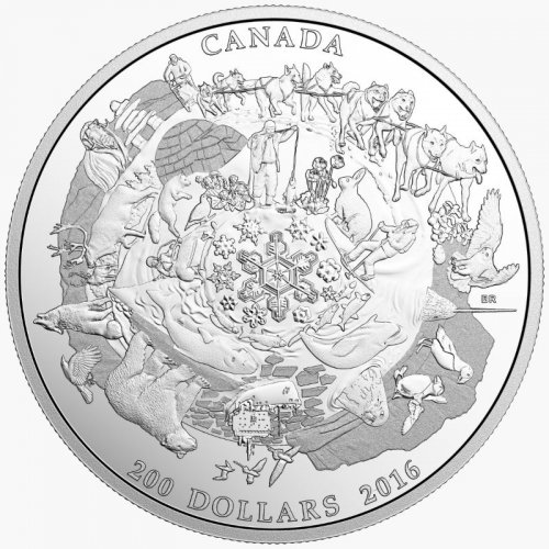 2016 Canadian $200 for $200 Canada's Icy Arctic - 2 oz Fine Silver Coin