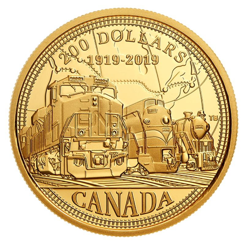 100th Anniversary of CN 2019 Canada 25 cent Coloured Coin