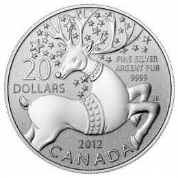 2012 Canadian $20 for $20 Magical Reindeer Fine Silver Coin