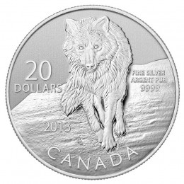 2013 Canadian $20 for $20 Wolf Fine Silver Coin