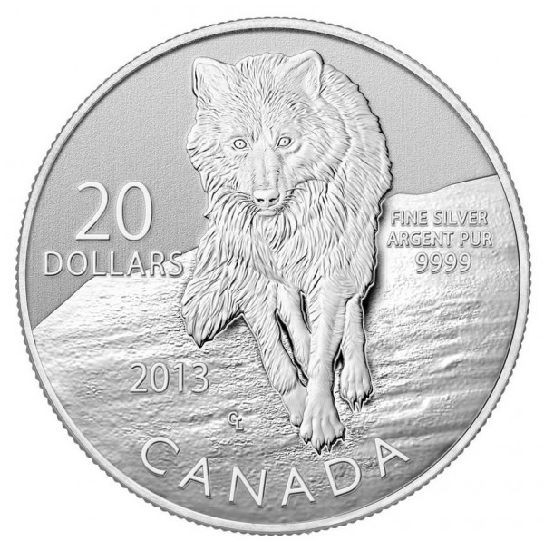 2013 Fine Silver 20 Dollar Coin - $20 for $20: Wolf