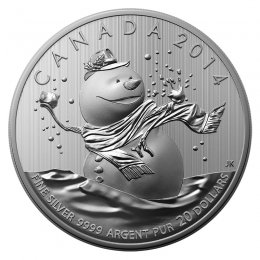 2014 Canadian $20 for $20 Snowman Fine Silver Coin