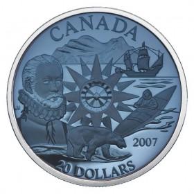 2007 Canadian $20 International Polar Year 125th Anniv Sterling Silver Plasma Coin