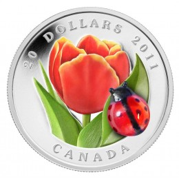 2011 Canada Fine Silver $20 Coin - Tulip with Ladybug