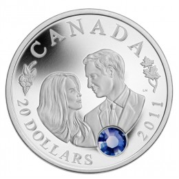 2011 Canada Fine Silver $20 Coin - Prince William of Wales & Miss Catherine Middleton Wedding Celebration