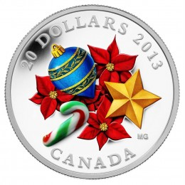 2013 Canada Fine Silver $20 Coin - Holiday Season with Venetian Glass Candy Cane