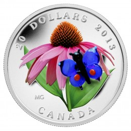 2013 Canada Fine Silver $20 Coin - Purple Coneflower with Venetian Glass Butterfly