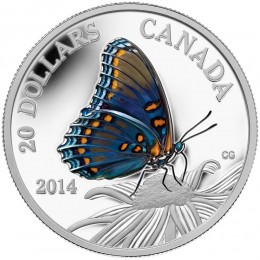 2014 Canadian $20 Butterflies of Canada: Red-Spotted Purple 1 oz Fine Silver Coloured Coin